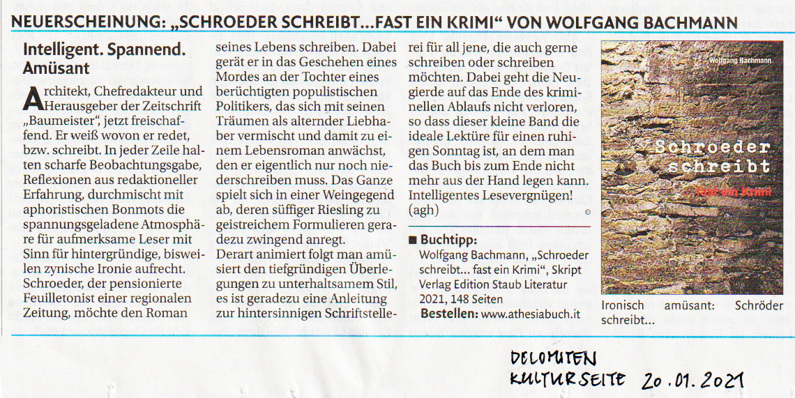 Schroeder schreibt Rezi Dolomiten